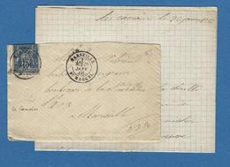 BOUCHES DU RHONE BOITE URBAINE G MARSEILLE ST MARCEL LES CAMOINS 1886 - Marcofilie (Brieven)