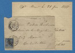 BOUCHES DU RHONE ORIGINE RURALE  MARSEILLE ST MARCEL ST MAMET 1888 - Marcofilie (Brieven)