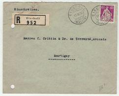Suisse // Schweiz // Switzerland // 1907-1939 // Valais //  Lettre Recommandée Au Départ De Eischoll Pour Martigny (176z - Briefe U. Dokumente