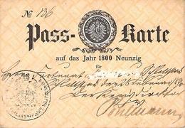 Vieux Papier PASS KARTEAUF DAS JAHR NEUNZIG FÜR 19 EME UNTERRSCHRIFT DES INHABERS ELSASS LOTHRINGEN - Vieux Papiers