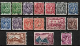 ST LUCIA 1938 - 1948 ALL DIFFERENT TO 3/-INCLUDING PERF VARIETIES SG 128/136 FINE USED Cat £5.45 - Ste Lucie (...-1978)