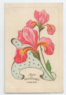 ART NOUVEAU DECO SUPERBE CPA GAUFREE RELIEF EMBOSSED FLEURS VOEUX BE TBE - Flowers