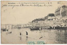 Rare ARCACHON Gironde La Plage Et La Jetée - Promenade N°12 Edit. D.T 1903 ....G - Arcachon