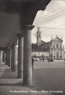 CASALPUSTERLENGO-LODI-PORTICI E CHIESA PARROCCHIALE-CARTOLINA VERA FOTOGRAFIA NON VIAGGIATA -ANNO 1955-1960 - Lodi
