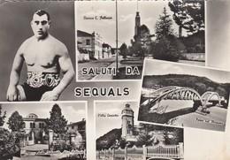 SEQUALS-PORDENONE-SALUTI DA(4 IMMAGINI CON PUGILE PRIMO CARNERA)-CARTOLINA VERA FOTOGRAFIA VIAGGIATA IL-2-8-1966 - Pordenone
