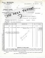 70 - Haute-saône - MONTBOZON - Facture BESSON - Fabrique D'esses Pour Sciage Et Traverses - 1939 - REF 139B - France