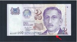 Banknote-Singapore $2 Portrait Series Aligned Cutting Error OGS291200 (#166)  AU - Singapore