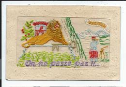 """Verdun Carte Brodée """"on Ne Passe Pas """" Lion De Belfort - Guerre 1914-18"""