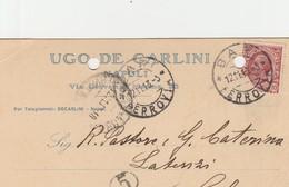 Bari. 1913. Annullo Guller BARI *FERROVIA*,  Su Cartolina Postale PUBBLICITARIA ...  UGO DE CARLINI   ... - Storia Postale
