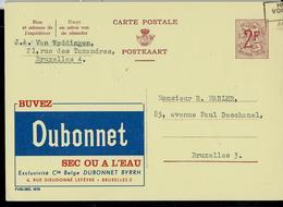 Publibel Obl. N° 1878 ( Buvez DUBONNET Sec Ou à L'eau - Alcool)  Obl  24/09/1962 - Entiers Postaux