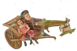 Découpi Couple Enfants Dans Une Cariole Tirée Par Un Cheval De Bois, - Children