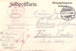 Guerre 1914-18 Carte De Prisonnier De Guerre En Allemagne Du 30 Décembre 1915 - 1877-1920: Période Semi Moderne