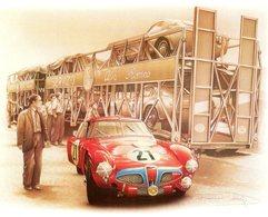 24 Heures Du Mans 1953 - Alfa Romeo 6C 3000 CM - Pilotes: Sanesi/Carini - Art Card By Bruere - Le Mans