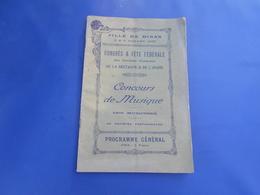 Ville De Dinan 2 Et 3 Juillet  1927  Programme  Congres Et Fete Federale  Concours De Musique 1200 Mucisiens - Bretagne