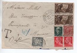 1934 - ENVELOPPE Avec TàD BORGO A BUGGIANO / PISTOIA (ITALIA) Pour MONACO Avec TAXE 60 CENTIMES - Covers & Documents