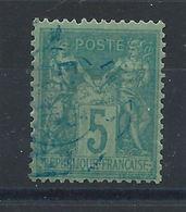 France N°75 Obl (FU) 1876 C à D Bleu - Sage Type II - 1876-1878 Sage (Type I)
