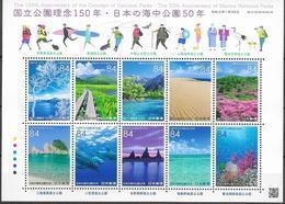 JAPAN, 2020, MNH,NATIONAL  PARKS, MARINE PARKS, DOLPHINS, CORALS, FISH, MOUNTAINS, BRIDGES, TREES, SHEETLET - Dolphins