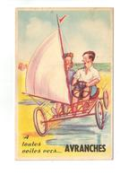 CPA 50 AVRANCHES Carte à Système Dépliant Vues Humour Couple Char à Voile 1951 Pas Courante - Avranches