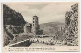 ANDORRE    CPA V. CLAVEROL N° 45 CANILLO EGLISE  ST JEAN DE CASELLAS (BERGER AVEC SON CHIEN ET SES MOUTONS) - Andorra