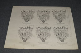 Anciens Projet D'imprimerie 1940 - 1950, Parfum La Corbeille Royale ,original D'époque,carte Parfumée,24,5 Cm./ 22 Cm. - Anciennes (jusque 1960)