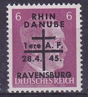 Armées Françaises En Allemagne Ravensburg  6pf Surchargé   Rhin Danube  N°5**  Signé - Libération
