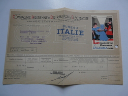 VIEUX PAPIERS - PUBLICITE : Compagnie Parisienne De Distribution D'Electricité - Eclairage - Publicités