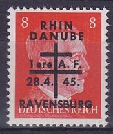 Armées Françaises En Allemagne Ravensburg  8pf Surchargé   Rhin Danube  N°6**  Signé - Libération