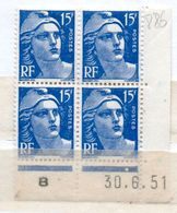 FRANCE N°886 15F BLEU TYPE MARIANNE DE GANDON COIN DATE DU 30.8.1951 NEUF SANS CHARNIERE - Dated Corners