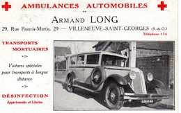 RARE CARTE PUBLICITÉ VILLENEUVE SAINT GEORGES AMBULANCE ARMAND LONG - Villeneuve Saint Georges