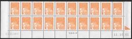 Yt 3089 Luquet La Poste 1,00 Orange Type II Bas De Feuilles Daté Rare ! - Dated Corners