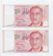 "Singapore Portrait 2 X $10 Dollars Running Number ""AA"" Prefix Banknote  3AA672447 /48 UNC (#169D) - Singapore"