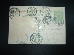 CP EP DRAGON ONE CENT +TP Enlevés OBL.+ OBL.29 APR 12 PEKING + OBL.30 AVRIL 12 PEKIN CHINE Pour BELGIQUE OBL.15 V 1912 E - Chine