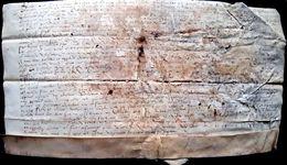 VELIN PARCHEMIN 15° 16°? ACTE MANUSCRIT SUR VELIN DEFRAICHI  A DECRYTER  35 X 19 CM SIGNATURE - Historische Dokumente