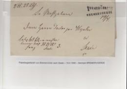 Preussen Vorphila Brief 1948 Breervörde Nach Stade Paketbegleitbrief - [1] Prephilately