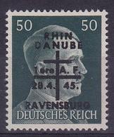Armées Françaises En Allemagne Ravensburg  50pf Surchargé   Rhin Danube  N°17**  Signé - Libération