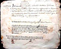 42 CHENERAILLES QUITTANCE DE PENSION DE 1742 CACHET DE GENERALITE SIGNATURES - Historical Documents