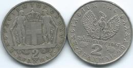 Greece - Constantine II - 2 Drachmai - 1967 (KM90) & 1971 - Year Of The Colonels (KM99) - Grecia