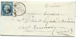 N° 14 BLEU NAPOLEON SUR LETTRE / BERLAIMONT POUR ROMORANTIN / 6 JUIN 1855 - 1849-1876: Période Classique