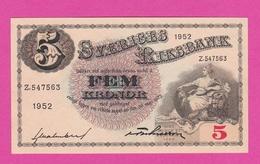 SUEDE  Billet  5 Kronor 1952  Pick 33ai  UNC - Suède
