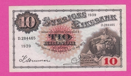 SUEDE  Billet  10 Kronor 1939  Pick 34v  AU - Suède