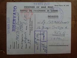 R.S.I. - Cartolina Prigioniero Di Guerra Italiano - Provenienza G.B. + Spese Postali - 1944-45 Sociale Republiek
