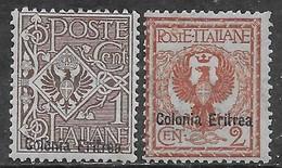 Italia Italy 1903 Colonie Eritrea Floreale 2val Sa N.19-20 Nuovi MH * - Eritrea