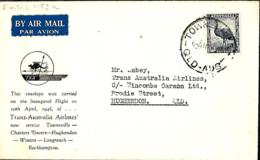 Australie.  1er Vol T.A.A. Townsville>Hughendon  7/4/48   Eustis 1159a - Briefe U. Dokumente