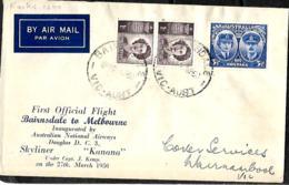 Australie.  1er Vol A.N..A. Bairnsdale>Melbourne  7/3/50   Eustis 1240 - Briefe U. Dokumente