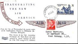 Australie.  1er Vol Ansett   Warnambool>Melbourne  17/7/50   Eustis 1248 - Briefe U. Dokumente
