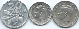 Greece - 1973 - Regime Of The Colonels - 20 Lepta (KM105) 50 Lepta (KM97) & 1 Drachma - 1971 - (KM98) - Grecia