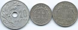 Greece - 1966 - 20 Lepta - KM79; 50 Lepta - KM88 & 1 Drachma - KM89 - Grecia
