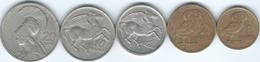 Greece - 1973 - Constantine II - 1 (KM107) 2 (KM108) 5 (KM109) 10 (KM110) & 20 Drachmai (KM112) - Grecia