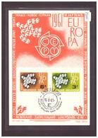 "BELGIQUE - EUROPA CEPT 1961 - CARTE MAXIMUM  ""PEN"" - TIRAGE LIMITE A 1500 Ex. - TB - Europa-CEPT"