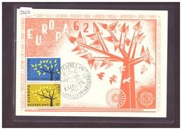 """PAYS BAS - EUROPA CEPT 1962 - CARTE MAXIMUM  """"PEN""""  - TB - Europa-CEPT"""